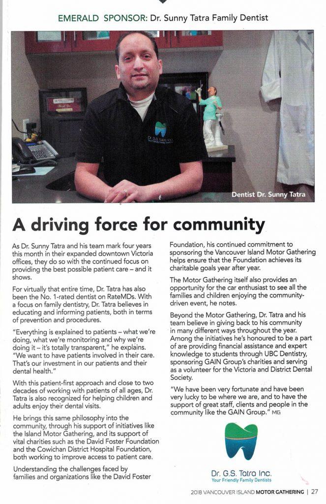 Victoria Dentist supports community-Dr G.S. Tatra